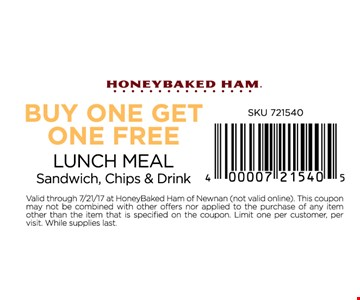 BOGO Free lunch meal. Sandwich, chips & drink.