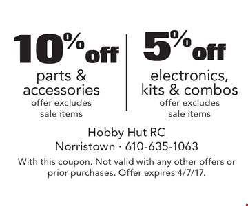 10% off electronics, kits & combos OR 5% off parts & accessories. Offer excludes sale items. With this coupon. Not valid with any other offers or prior purchases. Offer expires 4/7/17.