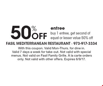 50% Off entree buy 1 entree, get second of equal or lesser value 50% off. With this coupon. Valid Mon-Thurs. for dine in. Valid 7 days a week for take-out. Not valid with special menus. Not valid on Fasil Family Grille. A la carte orders only. Not valid with other offers. Expires 6/9/17.