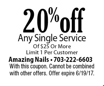 20% off Any Single Service Of $25 Or More. Limit 1 Per Customer. With this coupon. Cannot be combined with other offers. Offer expire 6/19/17.