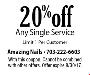 20% off Any Single Service. Limit 1 Per Customer. With this coupon. Cannot be combined with other offers. Offer expire 8/30/17.