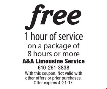 free 1 hour of service on a package of 8 hours or more. With this coupon. Not valid with other offers or prior purchases. Offer expires 4-21-17.