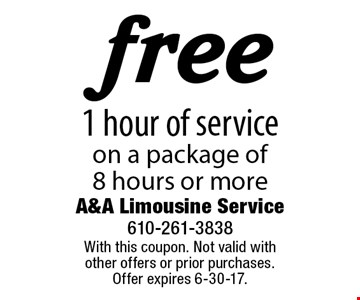 Free 1 hour of service on a package of 8 hours or more. With this coupon. Not valid with other offers or prior purchases. Offer expires 6-30-17.