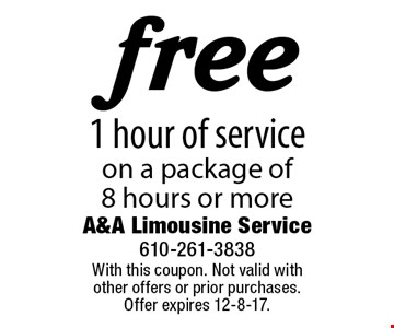free 1 hour of service on a package of 8 hours or more. With this coupon. Not valid with other offers or prior purchases. Offer expires 12-8-17.