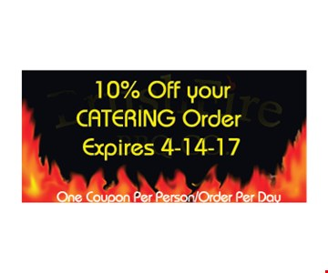 10% off your catering order. One coupon per person/order per day. Expires 4/14/17.