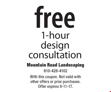 FREE 1-hour design consultation. With this coupon. Not valid with other offers or prior purchases. Offer expires 8-11-17.