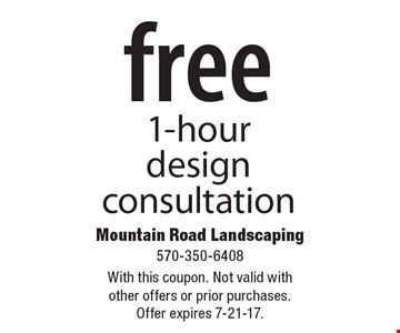 Free 1-hour design consultation. With this coupon. Not valid with other offers or prior purchases. Offer expires 7-21-17.