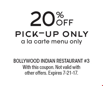 20% OFF pick-up only. A la carte menu only. With this coupon. Not valid with other offers. Expires 7-21-17.