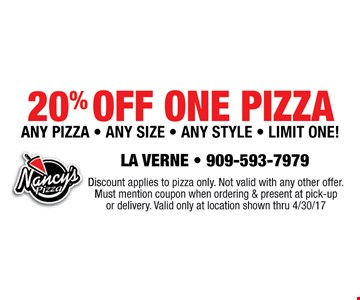 20% off one Pizza