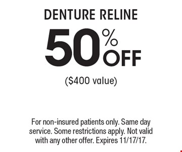 50% OFF DENTURE RELINE ($400 value). For non-insured patients only. Same day service. Some restrictions apply. Not valid with any other offer. Expires 11/17/17.