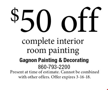 $50 off complete interior room painting. Present at time of estimate. Cannot be combined with other offers. Offer expires 3-16-18.