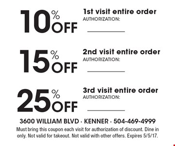 10% off your 1st visit entire order, 15% off your 2nd visit entire order, 25% off your 3rd visit entire order. Must bring this coupon each visit for authorization of discount. Dine in only. Not valid for takeout. Not valid with other offers. Expires 5/5/17.