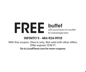 free buffet with purchase of a buffet & 2 beverage bars. With this coupon. Dine in only. Not valid with other offers. Offer expires 12/8/17. Go to LocalFlavor.com for more coupons.