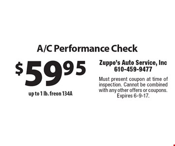 A/C Performance Check $59.95 up to 1 lb. freon 134A  Must present coupon at time of inspection. Cannot be combined with any other offers or coupons. Expires 6-9-17.
