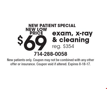new patient special $69 exam, x-ray& cleaningreg. $354. New patients only. Coupon may not be combined with any other offer or insurance. Coupon void if altered. Expires 8-18-17.