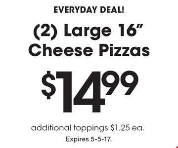 Everyday Deal! $14.99 (2) Large 16