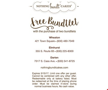 Free bundtlet with the purchase of two bundtlets