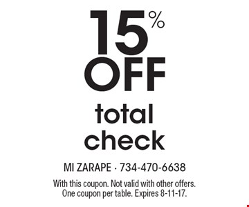 15% Off total check. With this coupon. Not valid with other offers. One coupon per table. Expires 8-11-17.