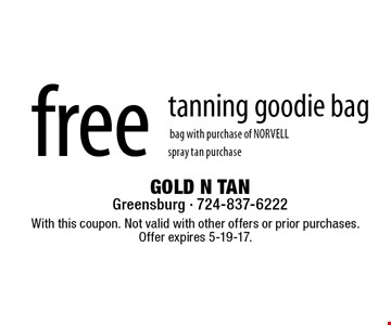 free tanning goodie bag with purchase of NORVELL spray tan purchase. With this coupon. Not valid with other offers or prior purchases.Offer expires 5-19-17.