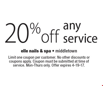 20% off any service. Limit one coupon per customer. No other discounts or coupons apply. Coupon must be submitted at time of service. Mon-Thurs only. Offer expires 4-19-17.