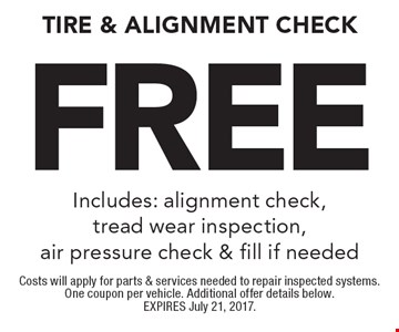 Free Tire & Alignment Check Includes: alignment check, tread wear inspection, air pressure check & fill if needed. Costs will apply for parts & services needed to repair inspected systems. One coupon per vehicle. Additional offer details below. EXPIRES July 21, 2017.