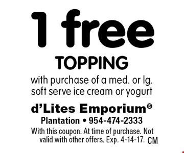 1 free topping with purchase of a med. or lg. soft serve ice cream or yogurt. With this coupon. At time of purchase. Not valid with other offers. Exp. 4-14-17.