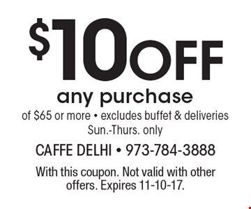 Free entree. Buy two entree, get 3rd of equal or lesser value free ($9 value) Dine in only, valid Sun.-Thurs. only. With this coupon. Not valid with other offers. Expires 11-10-17.