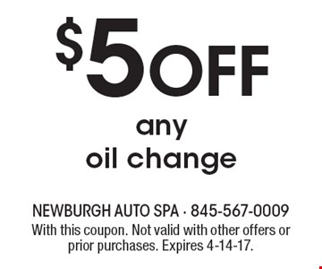 $5 Off any oil change . With this coupon. Not valid with other offers or prior purchases. Expires 4-14-17.