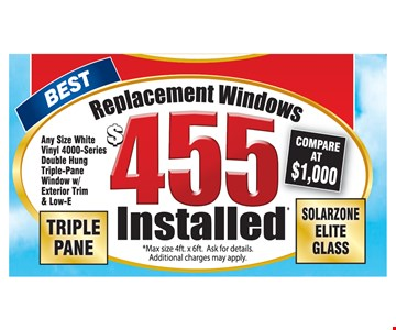 Replacement Windows $455 Installed