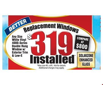$319 Replacement Windows Installed