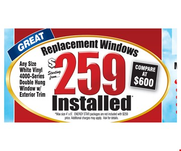 $259 Replacement Windows Installed