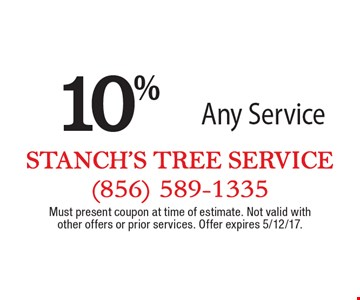 10% off Any Service. Must present coupon at time of estimate. Not valid with other offers or prior services. Offer expires 5/12/17.