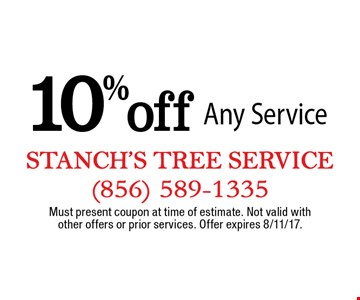 10% off Any Service. Must present coupon at time of estimate. Not valid with other offers or prior services. Offer expires 8/11/17.