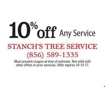 10% off Any Service. Must present coupon at time of estimate. Not valid with other offers or prior services. Offer expires 10-13-17.