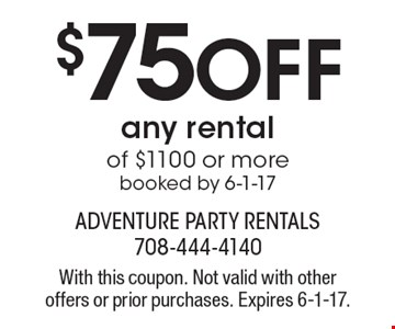 $75 Off any rental of $1100 or more booked by 6-1-17. With this coupon. Not valid with other offers or prior purchases. Expires 6-1-17.