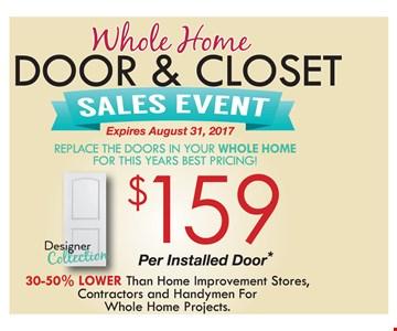 $159 per Installed Interior Doors