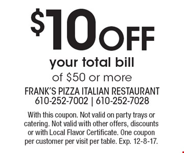 $10off your total bill of $50 or more. With this coupon. Not valid on party trays or catering. Not valid with other offers, discounts or with Local Flavor Certificate. One coupon per customer per visit per table. Exp. 12-8-17.