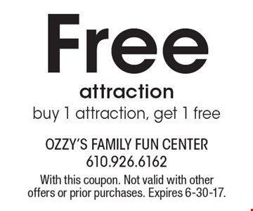 Free attraction. Buy 1 attraction, get 1 free. With this coupon. Not valid with other offers or prior purchases. Expires 6-30-17.
