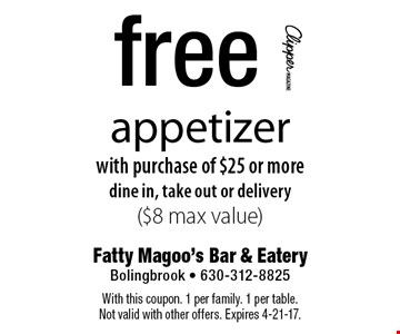 Free appetizer with purchase of an entree. Dine in only, Mon.-Thurs. only ($8 max value). With this coupon. 1 per family. 1 per table. Not valid with other offers. Expires 4-21-17.