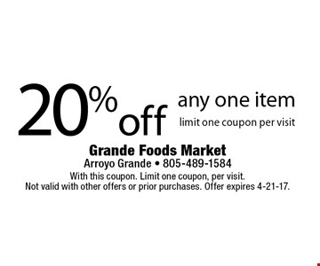 20% off any one item limit one coupon per visit. With this coupon. Limit one coupon, per visit. Not valid with other offers or prior purchases. Offer expires 4-21-17.