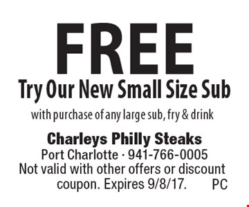 Free Try Our New Small Size Sub with purchase of any large sub, fry & drink. Not valid with other offers or discount coupon. Expires 9/8/17.