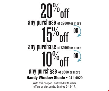 20% off any purchase of $2000 or more. 15% off any purchase of $1000 or more. 10% off any purchase of $500 or more. With this coupon. Not valid with other offers or discounts. Expires 5-19-17.