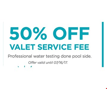 50% Off Valet Service Fee