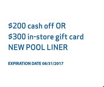 $200 cash off or $300 in-store credit