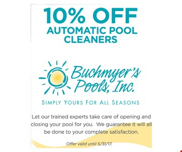 10% off automatic pool cleaners