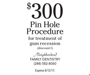 $300 PinHole Procedureor treatment of gum recession(discount l). Expires 6/12/17.