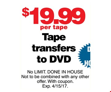 $19.99 per tape transfers to DVD