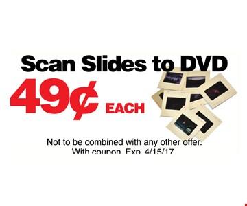 49¢ each scan slides to DVD