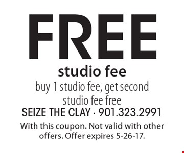 Free studio fee. Buy 1 studio fee, get second studio fee free. With this coupon. Not valid with other offers. Offer expires 5-26-17.