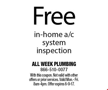 Free in-home a/c system inspection. With this coupon. Not valid with other offers or prior services. Valid Mon.- Fri. 8am-4pm. Offer expires 6-9-17.
